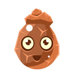 brown cracked rock element egg-shaped cute vector image vector image