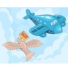 Carrier pigeon and plane vector image