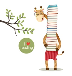Cartoon giraffe holding a pile of books vector image vector image