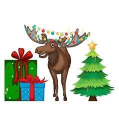 Christmas theme with reindeer and tree vector image