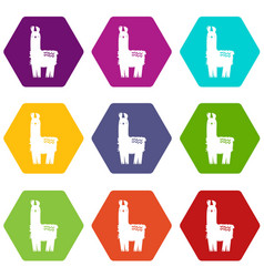 llama icons set 9 vector image