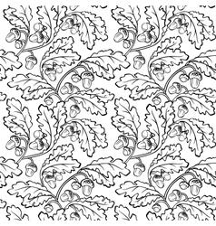 oak leaf acorn black white seamless background vector image vector image