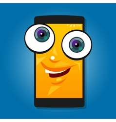 smart phone mobile big eyes character cartoon vector image vector image