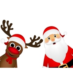 Snowman and santa claus look out the side vector