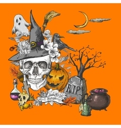 Vintage Halloween Invitation Card with Skull vector image