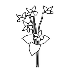 violet flower nature spring icon thin line vector image
