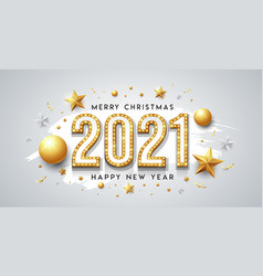 2021 gold neon light happy new year and christmas vector image