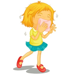 A little girl with colds vector image