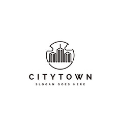 abstract city town logo icon with line art design vector image
