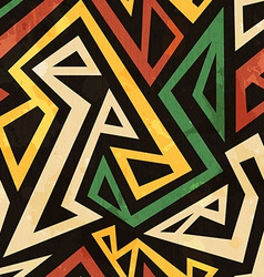 african geometric seamless pattern with grunge vector image