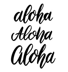 aloha lettering phrase on white background design vector image