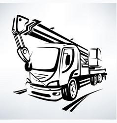 auto crane isolated symbol stylized sketch vector image