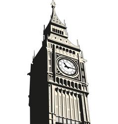 Big ben - clock tower houses of vector