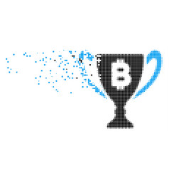 Bitcoin award cup disappearing pixel icon vector