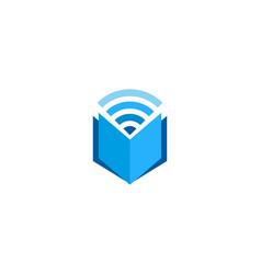 Book wifi logo icon design vector