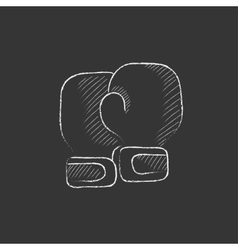 Boxing gloves Drawn in chalk icon vector