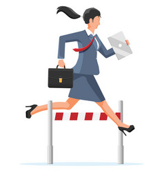 Businesswoman runs on obstacle course vector