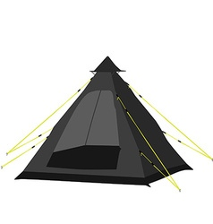 Camping tent black vector image