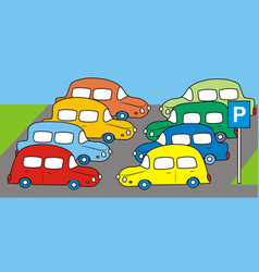 Cars parking lot vector