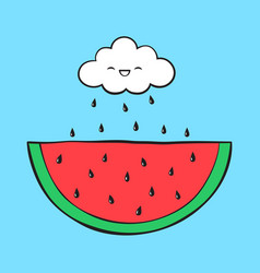 cartoon cloud and watermelon vector image