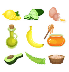 cartoon set of natural ingredients for homemade vector image