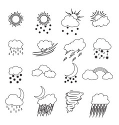 cartoon weather thin line icons set vector image