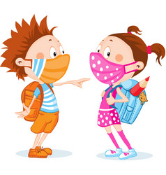 children students with respirator mask - protectio vector image