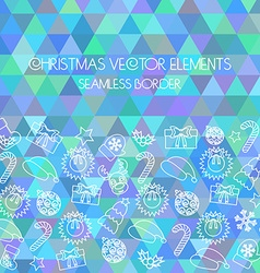 Christmas seamless border Multicolored triangular vector image