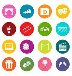 cinema icons many colors set vector image
