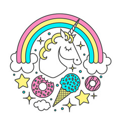 Circle composition with unicorn rainbow vector