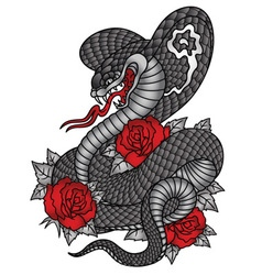 Cobra roses tattoo graphic vector image