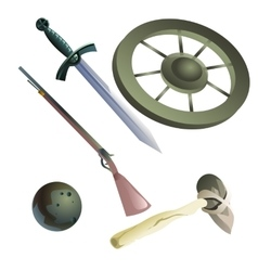 Collection of medieval and primitive weapons vector