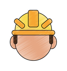 Color pencil cartoon front view faceless worker vector