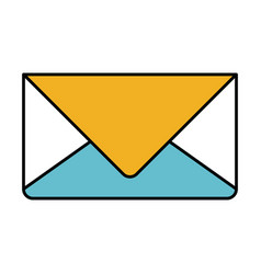 Color sections silhouette of envelope mail in vector