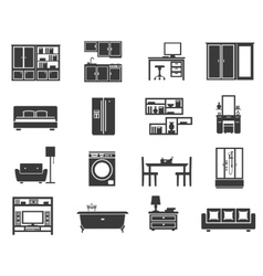 Concept Isolated Furniture Icon Set vector image