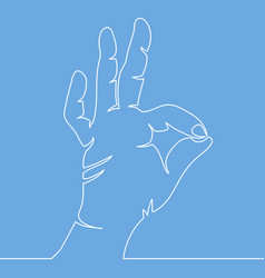 continuous line drawing of hand showing ok gesture vector image