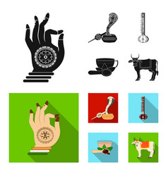 Country india black flat icons in set collection vector