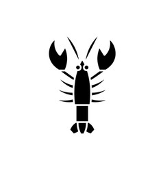 crayfish black icon sign on isolated vector image