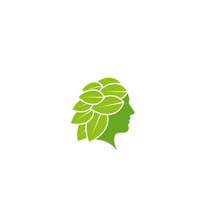 creative woman leaf beauty logo design symbol vector image