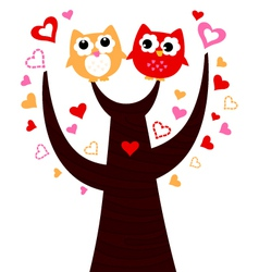Cute love Owls on tree isolated on white vector image