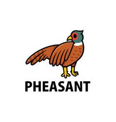 cute pheasant cartoon logo icon vector image
