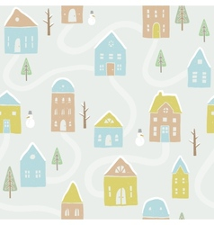 cute winter houses pattern vector image
