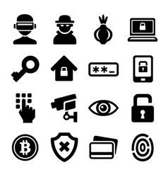 Dark Deep Internet and Security Icons Set vector