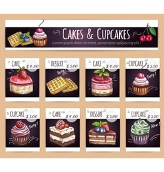 Desserts menu Sletched cupcakes cakes prices vector