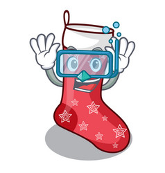 Diving cartoon christmas socks for gifts christmas vector