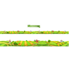 farm landscape seamless panorama 3d vector image