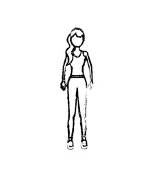 Figure healthy woman with clothes to do exercise vector