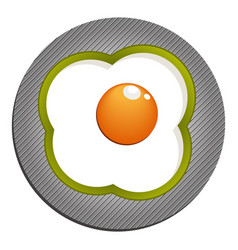 Fried eggs with green paprika fried eggs with vector
