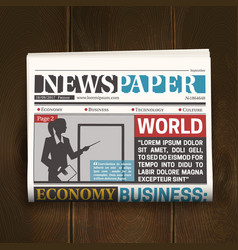front page newspaper realistic poster vector image