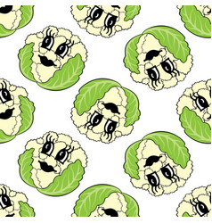 funny cartoon vegetable cauliflower seamless vector image
